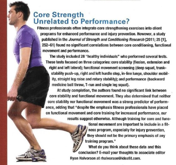 Core strenght unrelated to performmance