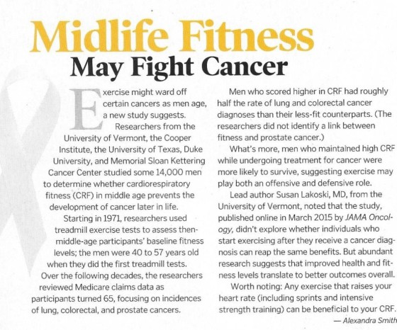 Mid life fitness may fight cancer